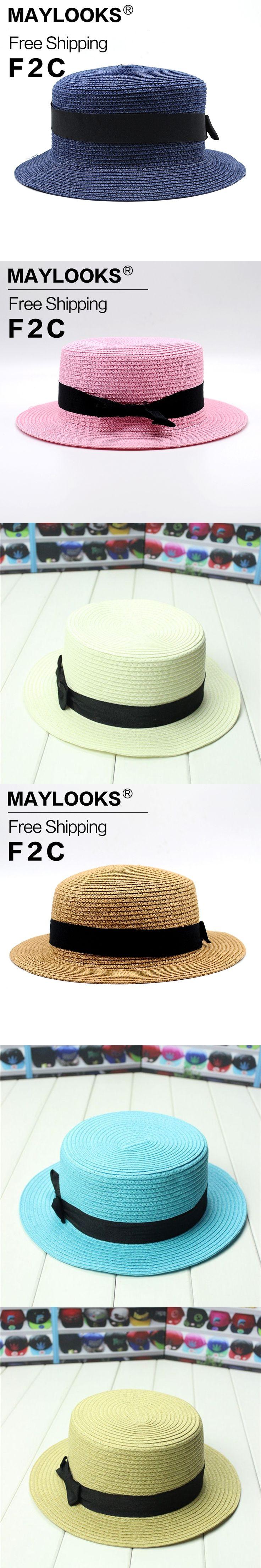 Maylooks Rosette Fedora Temperament Ladies Sun Hats 2017 Summer New Dress Cap For Women Sun Summer Straw Beach HN26