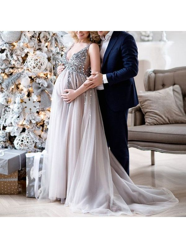 193f6b9d5175f Maternity V-Neck Maxi Tulle Gown With Tonal Delicate Sequins - Lukalula.com