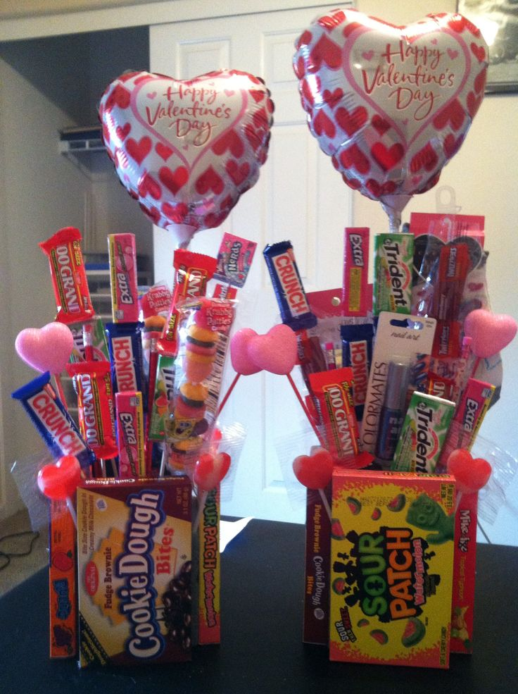 Valentines gifts I made for my kids mall items came from the Dollar Tree. I have Square piece of styrofoam with boxes of candy hot glued around it. Then using bamboo kabob sticks I hot glued candy bars and other little goodies on the sticks and stuck them into the styrofoam. Kids and adults love it.