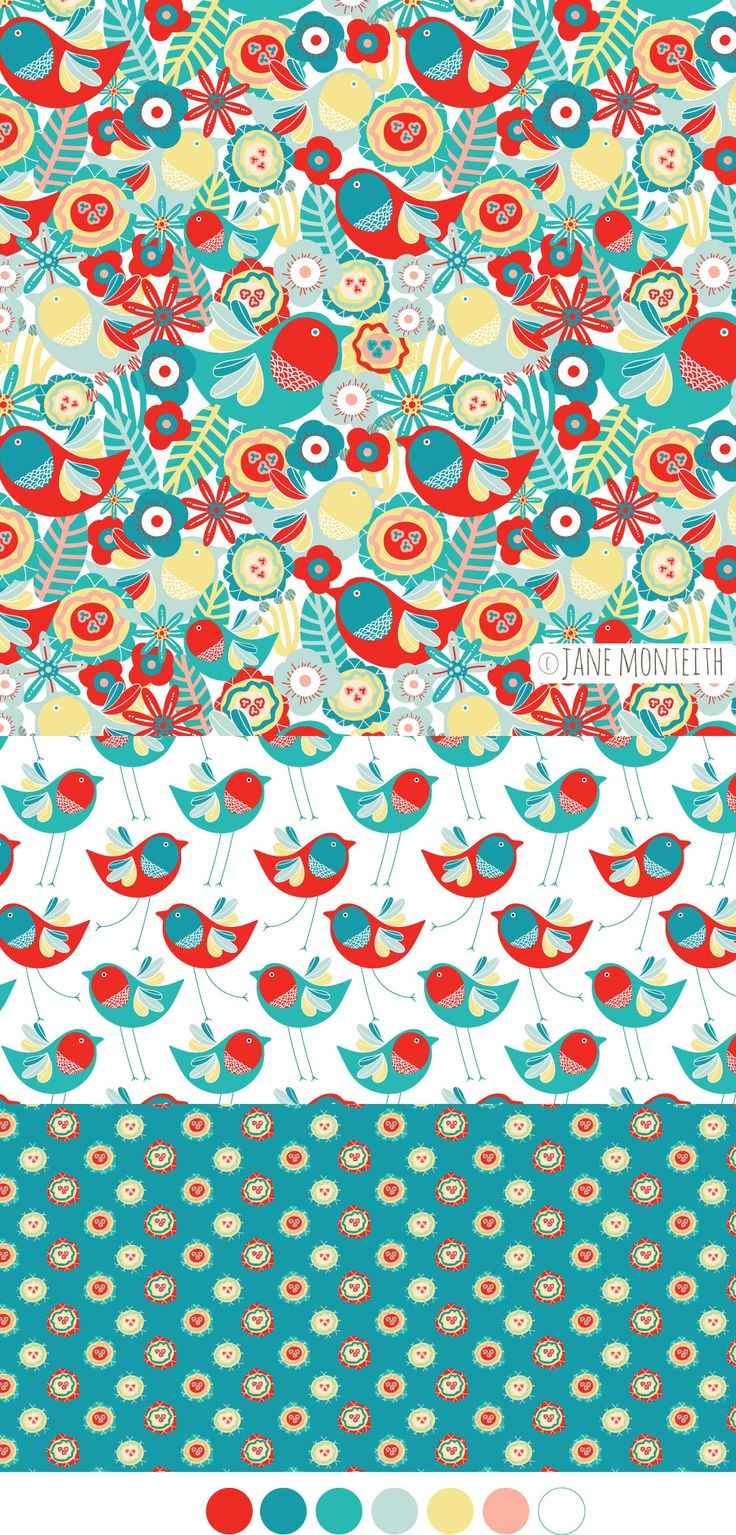 Buttons and Birdy fabric collection available on Spoonflower!