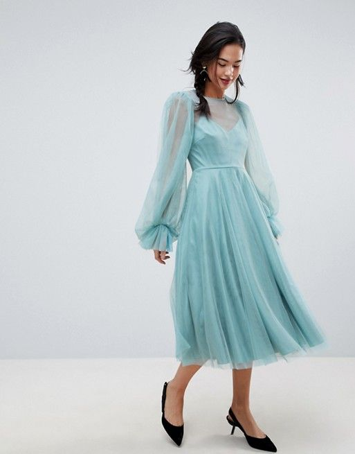 52151bda63a3 DESIGN tulle midi dress with sheer blouson sleeve | Editor Wish List ...