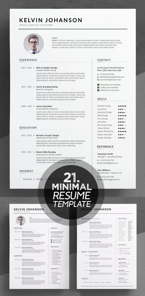 25 Best Minimalism Resume Templates 2018 Design Graphic Design Junction Resume Design Template Resume Cv Resume Design Creative