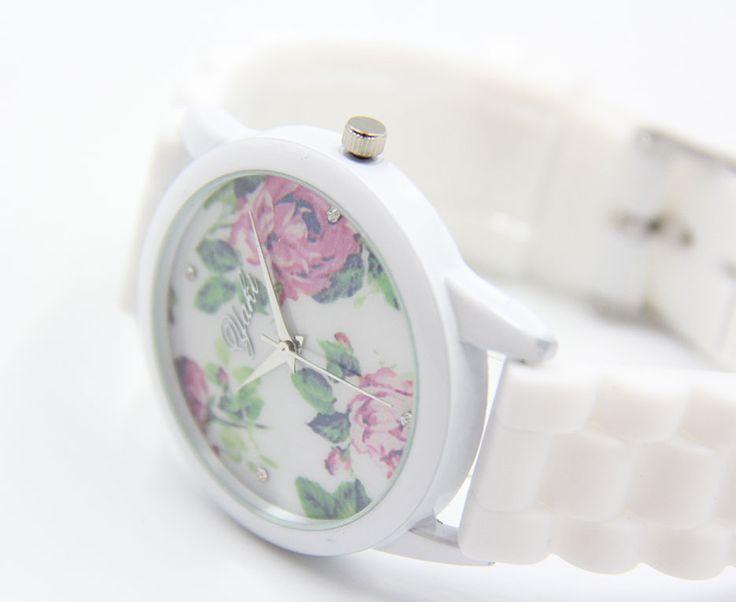 Great YAKI Blumenmuster Uhr Damen Armbanduhr Automatikuhr Analog Quarz Uhren Rosenmuster mit Silikonarmband Weiss WG W