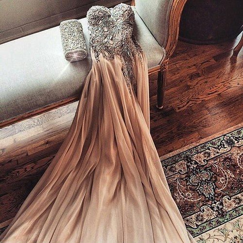 Champagne Chiffon Beaded Long Prom Dresses #prom #promdress #dress