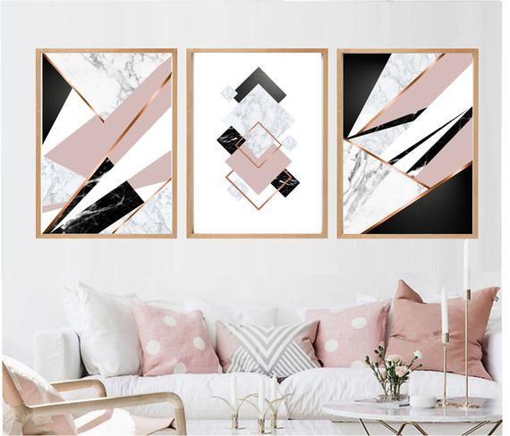 Set Of 3 Geometric Prints Pink Gray Marble Rose Gold