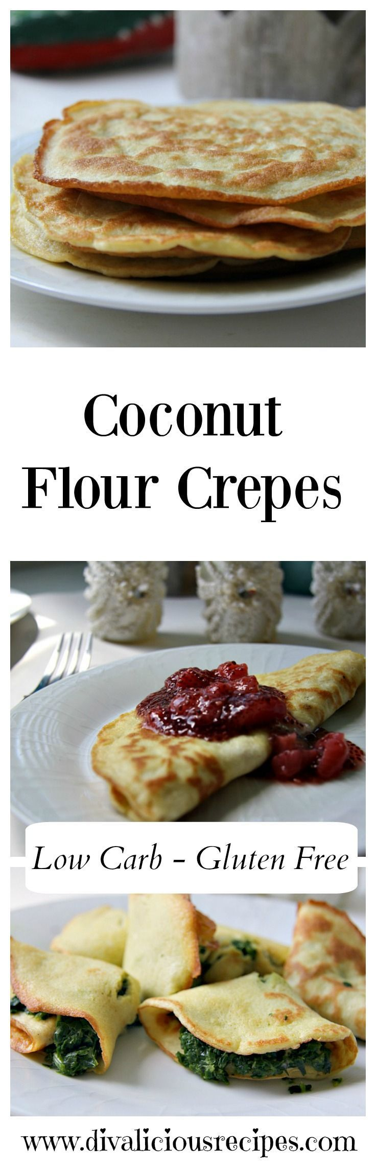 Coconut flour crepes that make a great quick supper or dessert dish. They can be filled or eaten simply with a dash of lemon over them. Recipe - http://divaliciousrecipes.com/2017/05/03/coconut-flour-crepes/