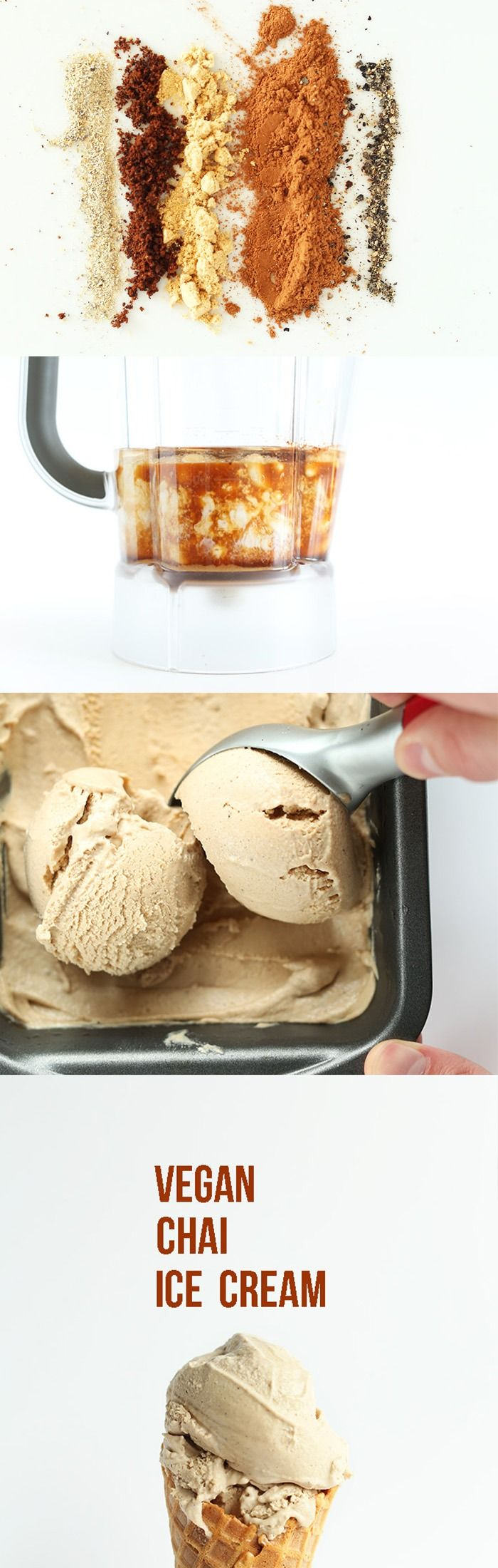 Creamy Vegan Chai Ice Cream! Simple, whole foods ingredients and TONS of flavor. #vegan #glutenfree