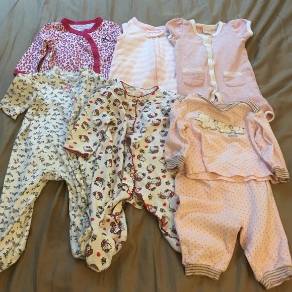 Baby girls pajamas clothes lot 3-6 months Baby girls 3-6 months pajamas clothes lot! Some new just washed others worn a couple times and washed! Get an amazing deal! Other