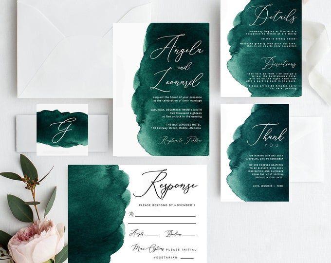 Watercolor Emerald Green Wedding Invitation Watercolor Wedding