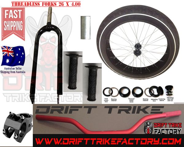 This Page is for Drift Trike Front Fat Wheel Kit with everything that you need to make your own Motorised Big Wheel Drift Trike Front End kit This Big Fat Bike Wheel Kit Comes complete with 26 x 4.0 Front Wheel including Road Treaded tyre tube and aluminium rim Steel forks threadless 1 Inch &/1/8 Front