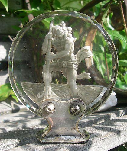 Vintage Bohemian Lead Crystal St Christophe Hood Ornament Glas Car Mascot | eBay