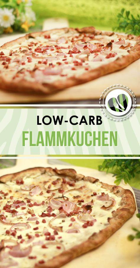 Der low-carb Flammkuchen ist aus einem richtigen Teig, der nicht nur kohlenhydratarm ist sondern auch glutenfrei.