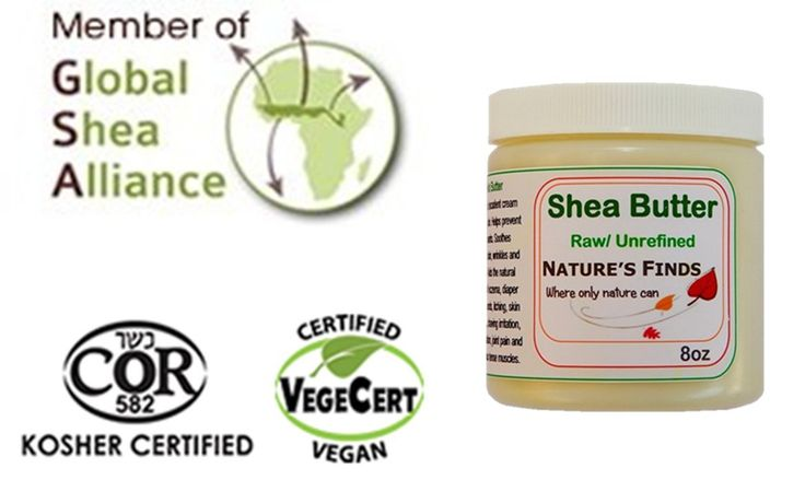 Shea Butter. Certified Natural Organic, Vegan and Kosher. Skin Care by Nature's Finds, shipped worldwide.