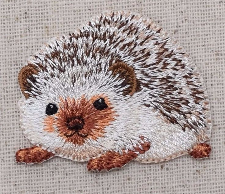 Iron On Embroidered Applique Patch Natural Brown Hedgehog
