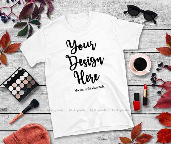 Download Free Fall White T Shirt Mockup Gildan 64000 Blank Shirt Autumn Psd Free Psd Mockups Mockup Free Psd Free Psd Mockups Templates Free Packaging Mockup