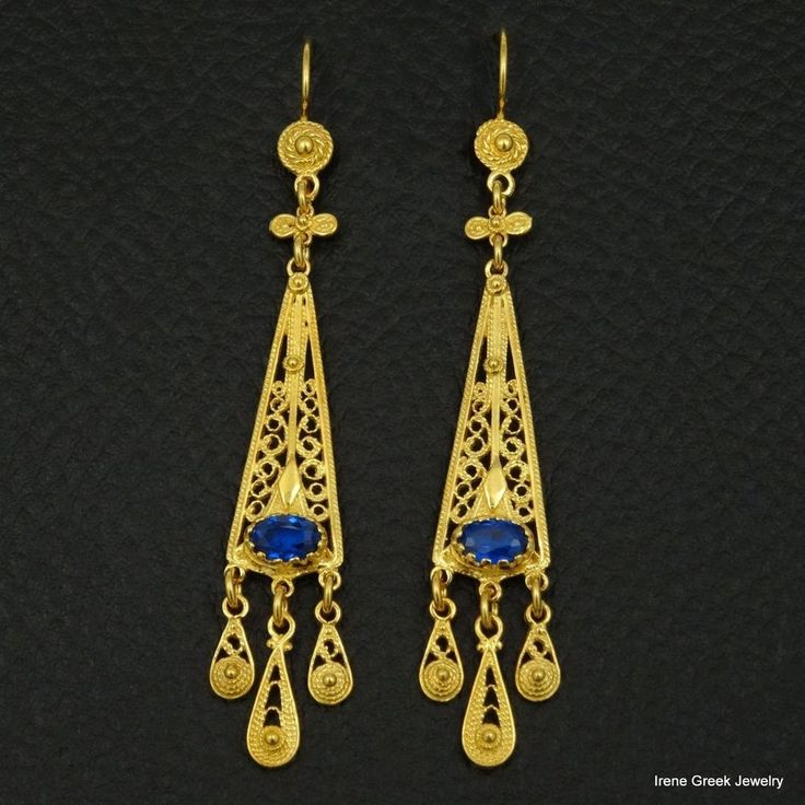 RARE SAPPHIRE CZ FILIGREE 925 STERLING SILVER 22K GOLD PLATED GREEK EARRINGS #IreenGreekJewelry #DropDangle