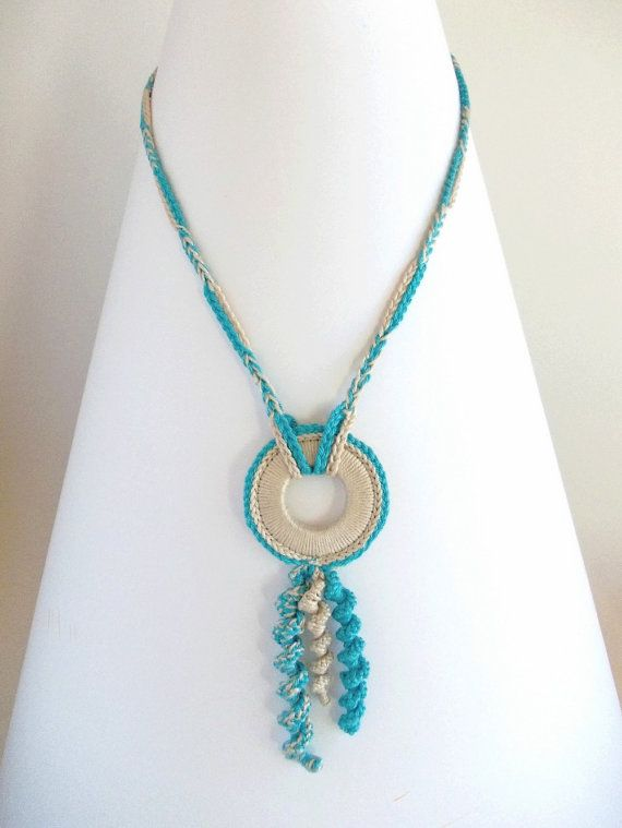 SALE 50OFF Blue and Cream Crochet Necklace Ethnic Fiber by DiDecor, zł45.00