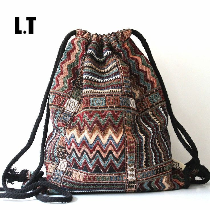 2016 Women Vintage Backpack Gypsy Bohemian Boho Chic Hippie Aztec Folk Tribal Woven String Backpack Female Drawstring Rucksack
