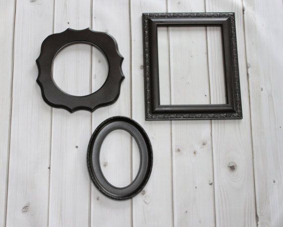 frame set wall collection vintage ornate frames black dark brown oil rubbed