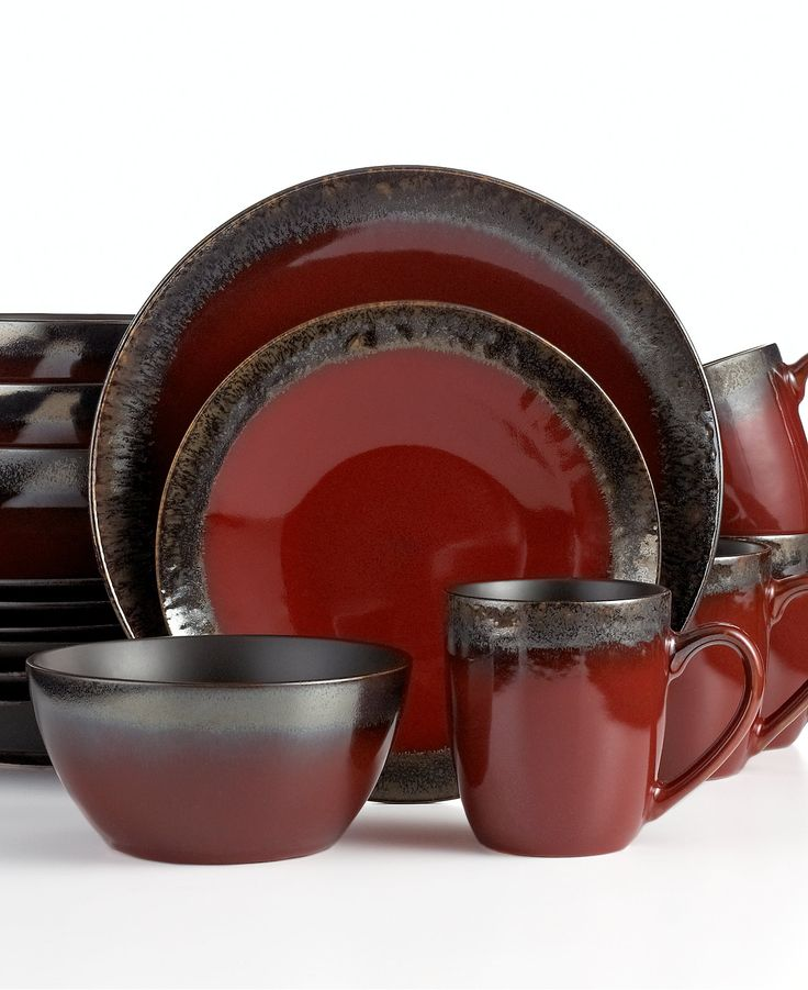 Gourmet Basics By Mikasa Calder Red 16 Pc Set Service