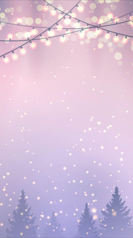 🦌 🎅 Wallpaper de noël – Fond rose avec sapi…