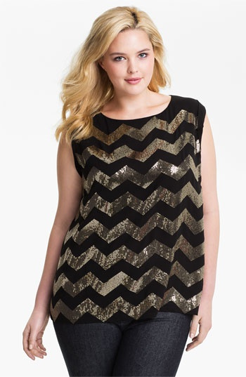 Vince Camuto Sequin Chevron Blouse (Plus) available at #Nordstrom