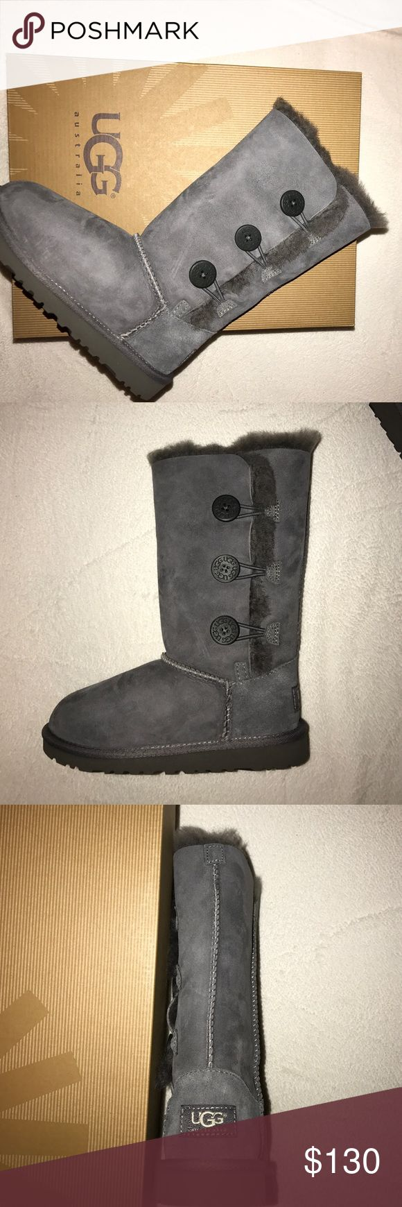 Adorable girls ugg boots Brand new in box!! Never worn!! Grey bailey button triple ugg boots. Super cute and warm! UGG Shoes Boots