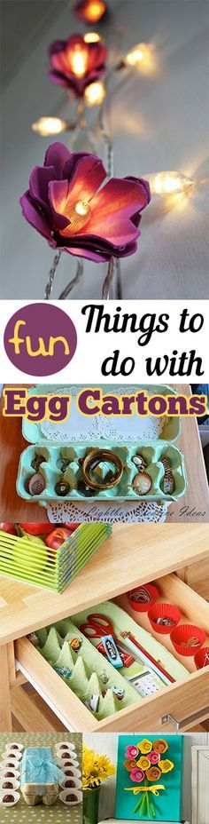 Fun things to make with Egg Cartons. Great crafts, projects and tutorials for creatively upcycling old egg cartons.