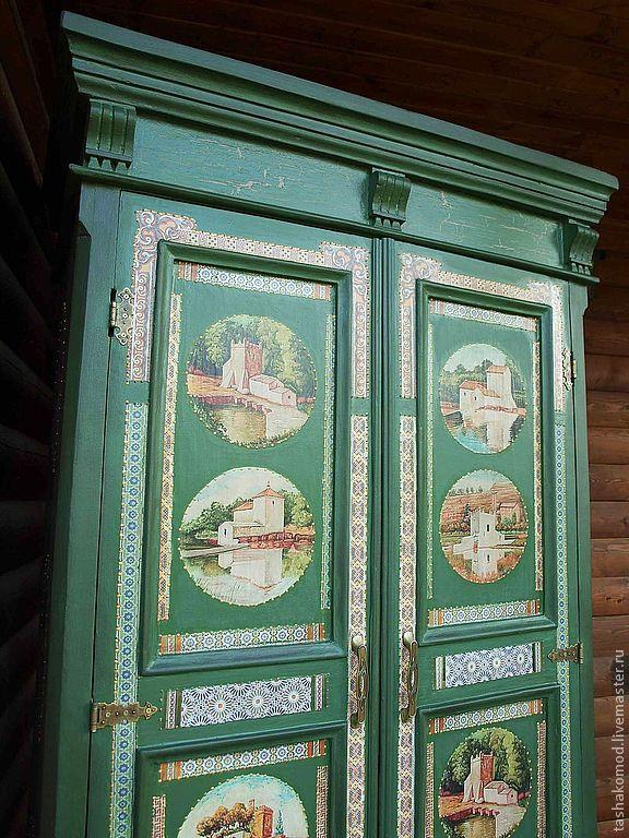 """Купить Шкаф """"Азулежу"""" (реставрация). Комод в подарок!) - шкаф, реставрация мебели, оформление мебели, мозаика"""