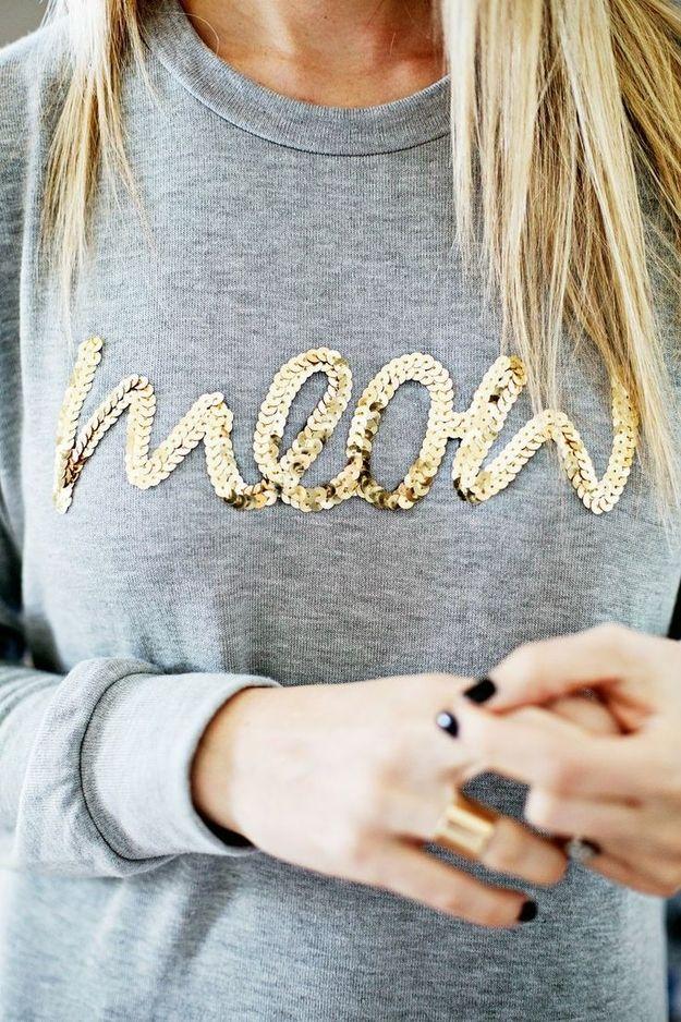 Easily transform a plain sweatshirt into a sassy statement piece.