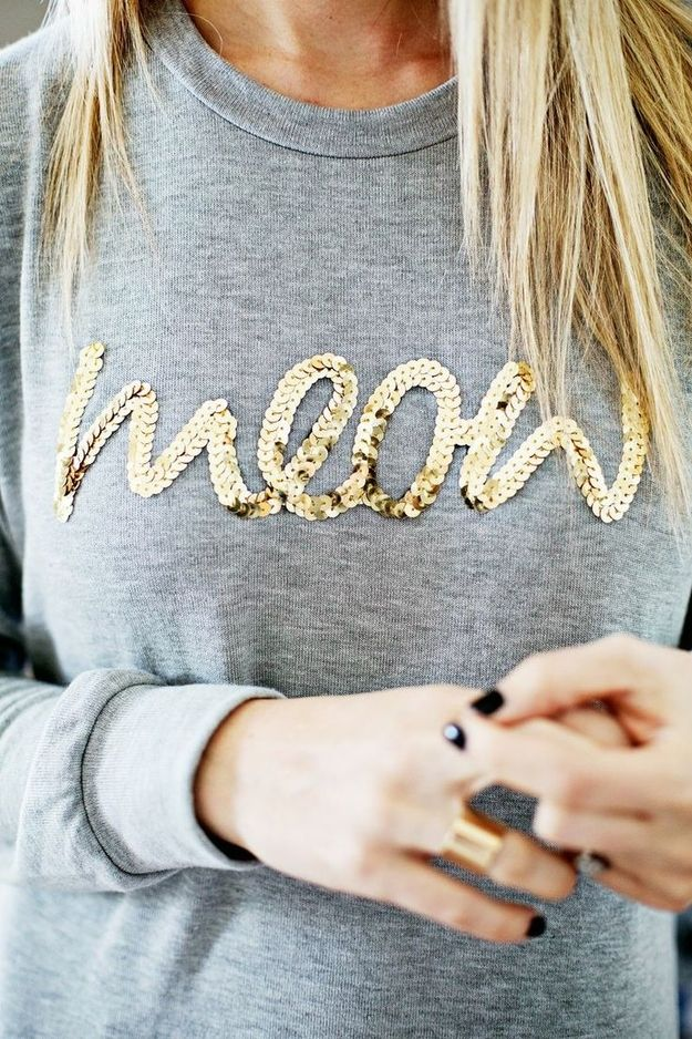 Easily transform a plain sweatshirt into a sassy statement piece.