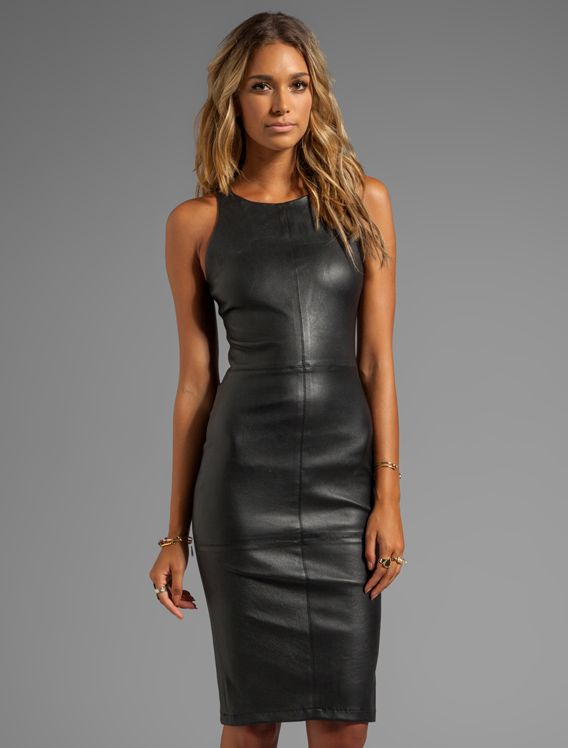 elizAbeth and James black leather dress