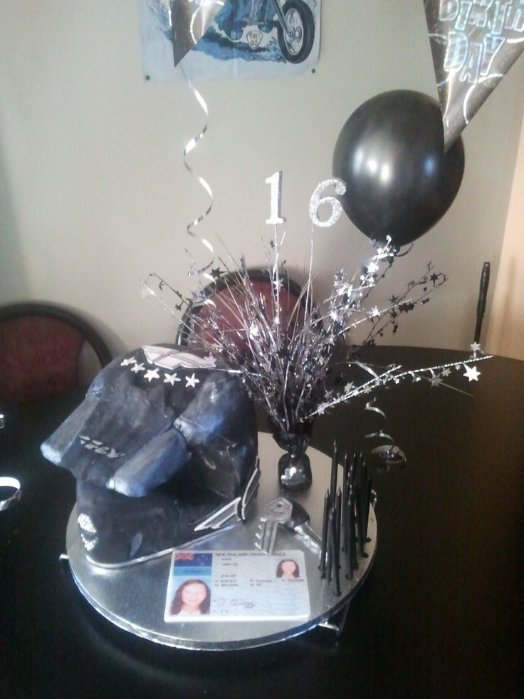 Motor bike helmet with a drivers licence, and car keys made out of icing