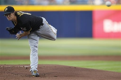 6-4-2013 - Former Braves draft pick Jeff Locke left the game in the sixth inning after staking the Bucs to a 4-2 lead.