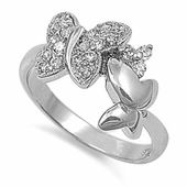 Sterling Silver Clear Butterfly CZ Ring