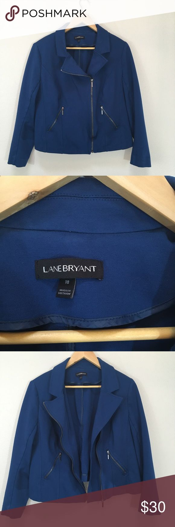 Lane Bryant Blue Zip Up Moto Style Jacket Size 18 Lane Bryant Blue Zip Up Moto Style Jacket Asymmetrical Zipper Women's Size 18. Excellent condition! Clean and comes from smoke free home. Questions welcomed. Lane Bryant Jackets & Coats