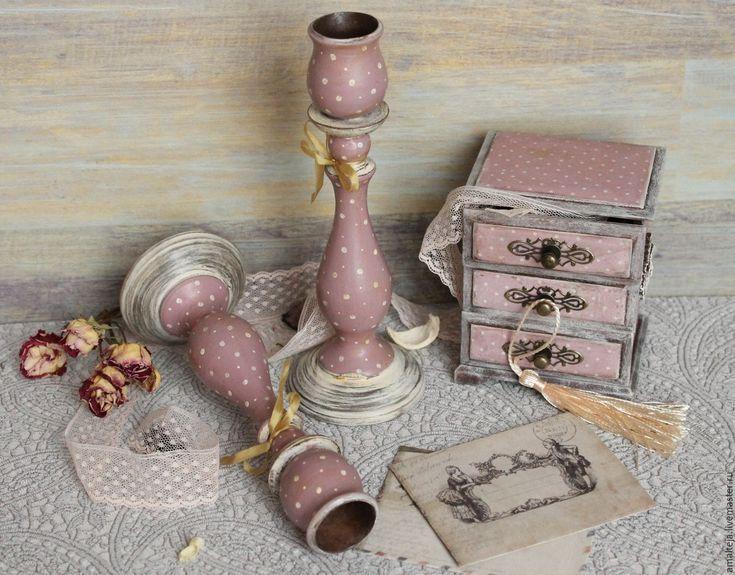 """Купить Подсвечники """"Нежный горошек"""" - бледно-розовый, подсвечники, деревянные подсвечники, купить подсвечники"""