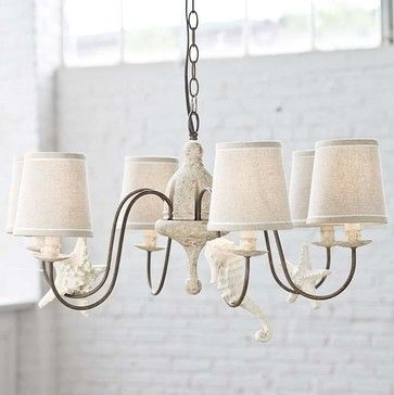 Regina Andrew Rusted Arm Antique Chandelier with Shells-Small - beach-style - Chandeliers - Candelabra