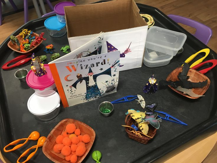 Read the story What's in the fridge in the Witches kitchen. Told the chn that her friend Wizard was coming to stay so we need to make sure there's enough food in the fridge. Chn loved counting the ingredients into containers, labelling and then putting in the fridge.