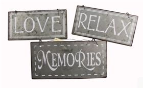 Relax Love memories set of 3 metal signs by Heaven Sends - Another Gorgeous Day