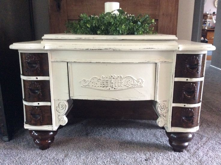 Sewing cabinet converted to coffee table