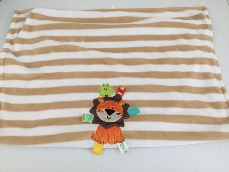Taggies Brown Tan Stripes Lion Frog Baby Blanket Tags