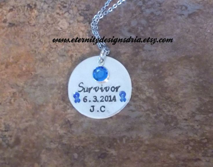 Personalized Survivor Necklace, Colon Cancer Awareness Necklace