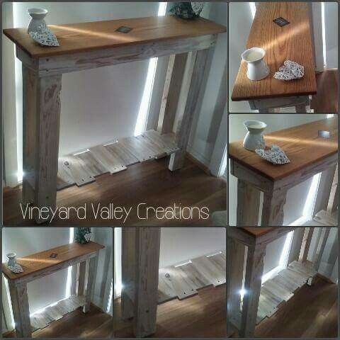 Pallet Hall Table with Red Oak Benchtop