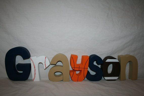 Boy nursery letters 7 wood letters Sports por WoodenWondersShop