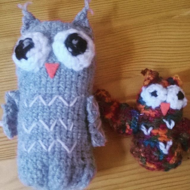 Crocheted mommy and baby owl