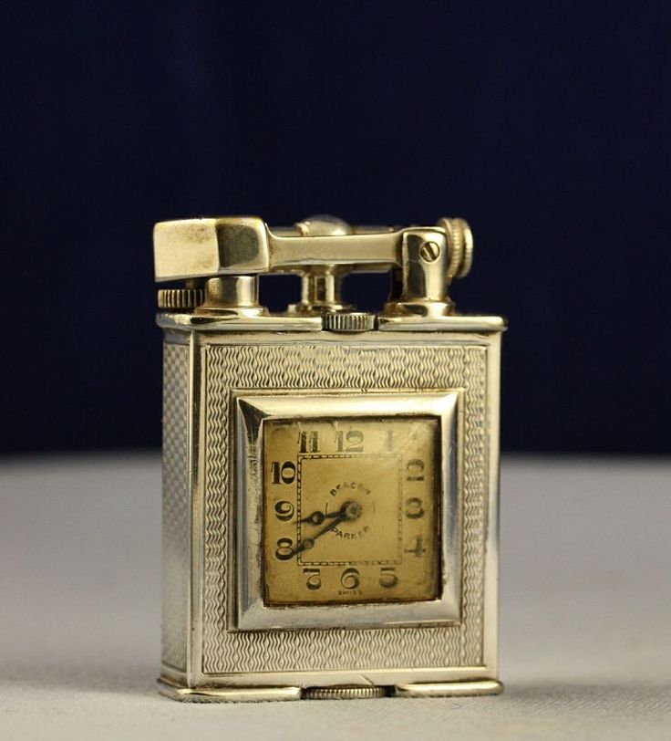 Vintage 1930s Silver Alfred Dunhill Patent 143752 Parker Beacon Clock Lighter