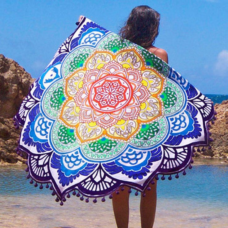 New Beach Mandala Indian Round Cover Up Beach Towel Beach Mat Shawl Yoga Mat Summer Letter Sarong Cloak Bathing Suit