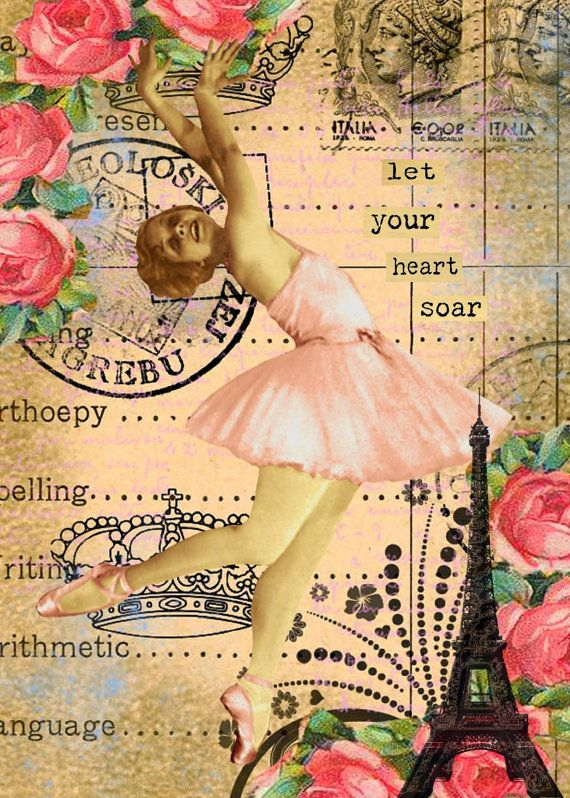 Original digital collage ephemera altered art vintage digital collage sheets digital print pink ballerina girls sur Etsy, $5.41 CAD