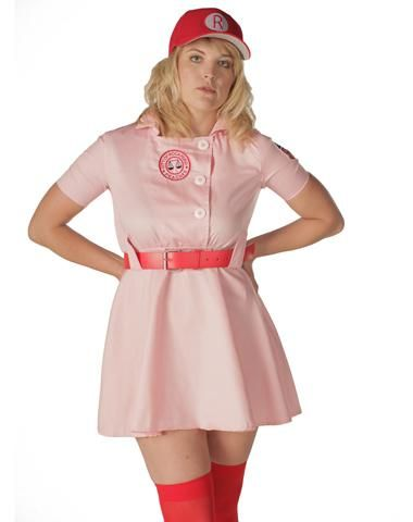 "This is awesome, because ""there's no crying in baseball.""  Rockford Peaches Adult Women's Plus Size Costume"
